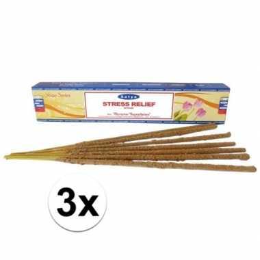 3 pakjes nag champa wierookstokjes anti stress 15 gram