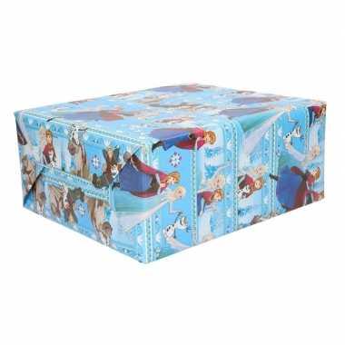 3 rollen frozen geschenkpapier blauw
