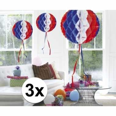3 stuks decoratie ballen usa gekleurd 30 cm