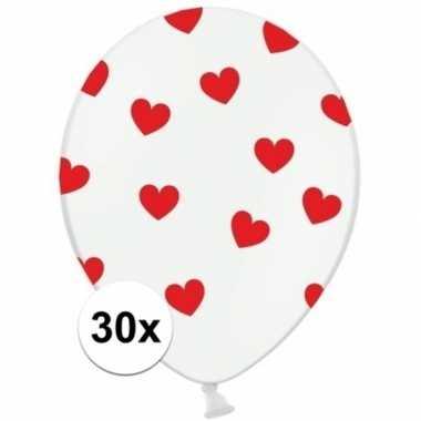 30x witte ballonnen met rode hartjes