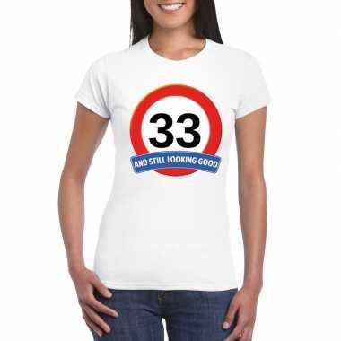 33 jaar verkeersbord t-shirt wit dames