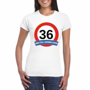 36 jaar verkeersbord t-shirt wit dames