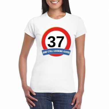 37 jaar verkeersbord t-shirt wit dames