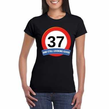 37 jaar verkeersbord t-shirt zwart dames