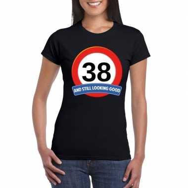 38 jaar verkeersbord t-shirt zwart dames