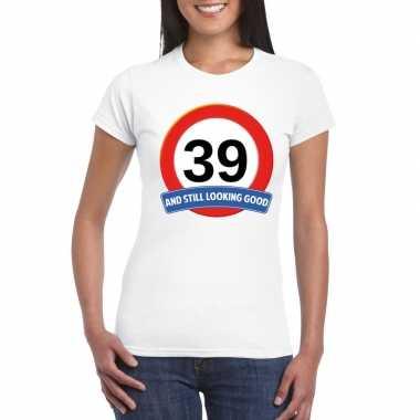 39 jaar verkeersbord t-shirt wit dames