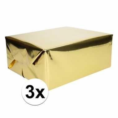 3x folie kadopapier goud metallic 4 meter