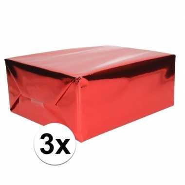 3x folie kadopapier rood metallic