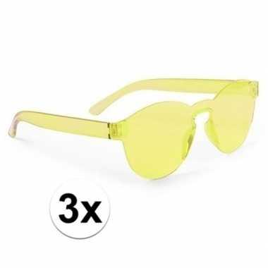 3x gele feestbril voor volwassenen