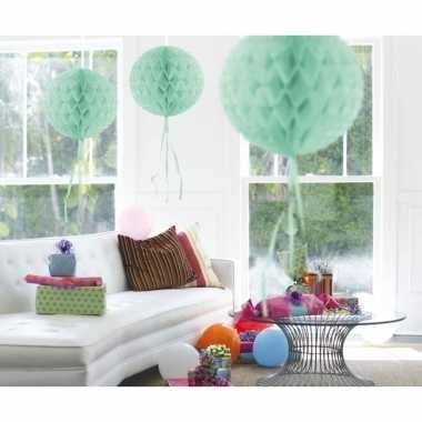 3x honeycombs ballen mint groen van 30 cm