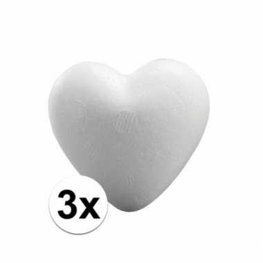 3x knutsel hartjes piepschuim 5 cm