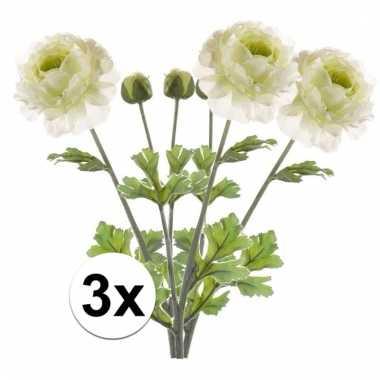 3x kunstbloemen tak groen wit ranonkel 45 cm