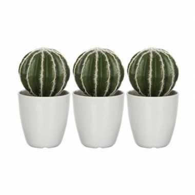 3x nep planten groene echinocactus bolcactus kunstplanten 28 cm met w
