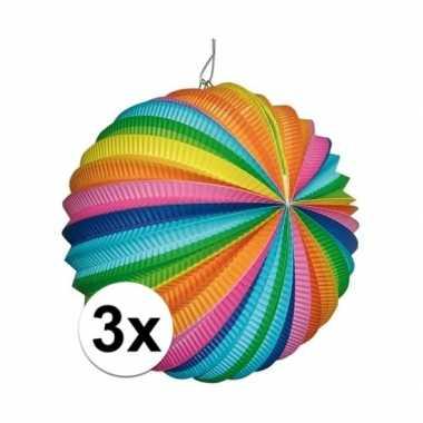 3x ronde lantaarns in regenboog kleuren