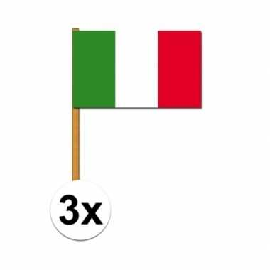 3x stuks italie zwaaivlaggetjes