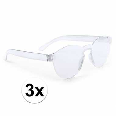 3x transparante feestbril voor volwassenen