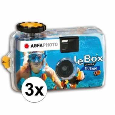 3x wegwerp onderwatercameras/fototoestelen met flits voor 27 kleuren