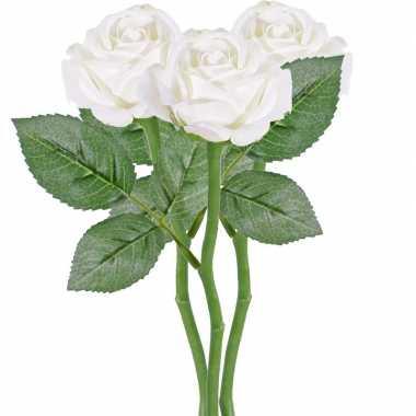 3x witte kunstroos kunstbloemen 27 cm decoratie