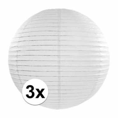 3x witte luxe lampionnen rond 35 cm