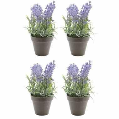 4x nep planten groene lavandula lavendel kunstplanten 17 cm met zwart