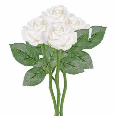 4x witte kunstroos kunstbloemen 27 cm decoratie