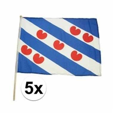 5 friesland zwaaivlaggen lichtblauw