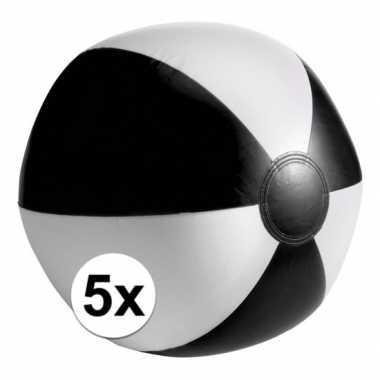 5 stuks strandballen opblaasbaar zwart