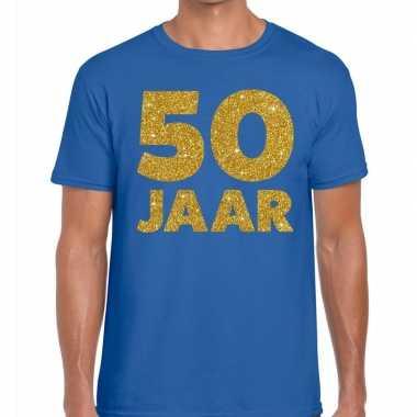 50 jaar fun jubileum t-shirt blauw voor heren