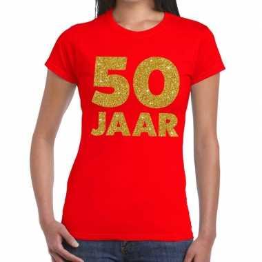 50 jaar verjaardag fun t-shirt rood voor dames