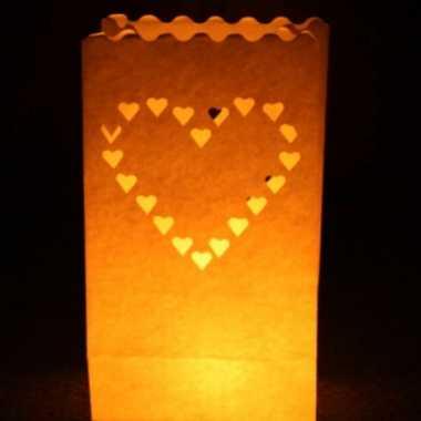 50x candle bags set hart 26 cm
