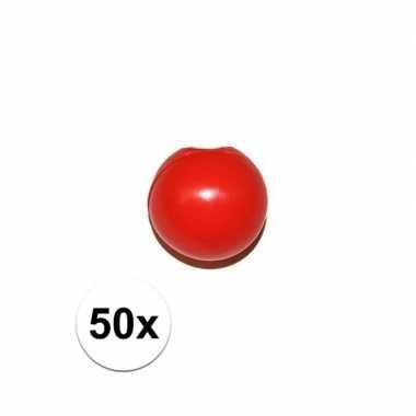 50x rode clowns neus/neuzen zonder elastiek
