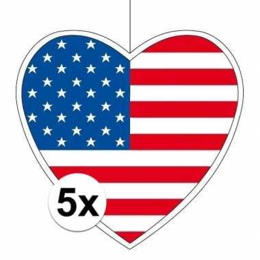 5x amerika hangdecoratie harten 28 cm