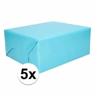 5x cadeaupapier aqua 200 cm