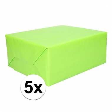 5x cadeaupapier lime groen 200 cm