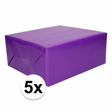 5x cadeaupapier paars 200 cm