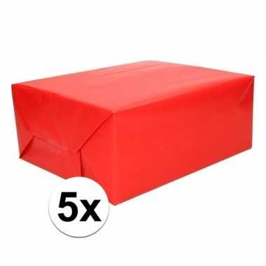 5x cadeaupapier rood 200 cm