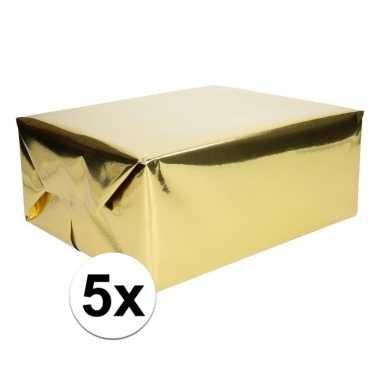 5x folie kadopapier goud metallic 4 meter