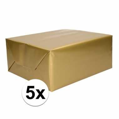 5x kadopapier gouden 70 x 200 cm