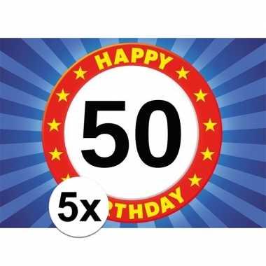 5x leeftijd sticker 50e verjaardag 50 jaar stopbord 7 x 10 cm verjaar