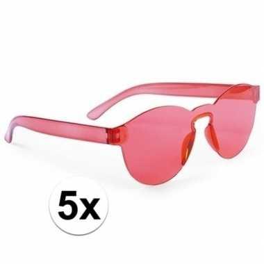 5x rode feestbril voor volwassenen