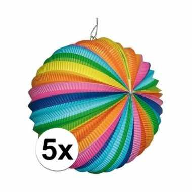 5x ronde lantaarns in regenboog kleuren