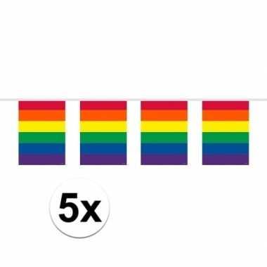 5x vierkante regenboog vlaggenlijnen van 10 meter