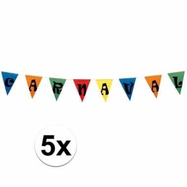 5x vlaggenlijn carnaval 10 meter