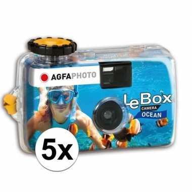 5x wegwerp onderwatercameras/fototoestelen met flits voor 27 kleuren