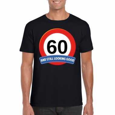 60 jaar verkeersbord t-shirt zwart heren