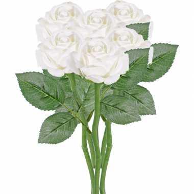 6x witte kunstroos kunstbloemen 27 cm decoratie