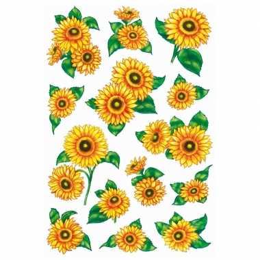 6x zonnebloem stickervellen met 14 stickers
