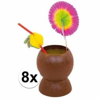 8x kokosnoot beker