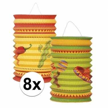 8x mexicaanse thema lampionnetjes