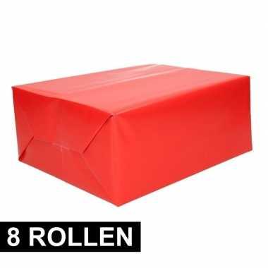 8x rollen kadopapier rode 70 x 200 cm